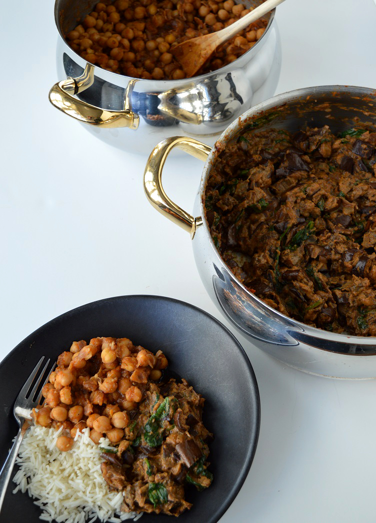 Curry Made Easy - Eggplant Spinach and Chickpea Curry with plate