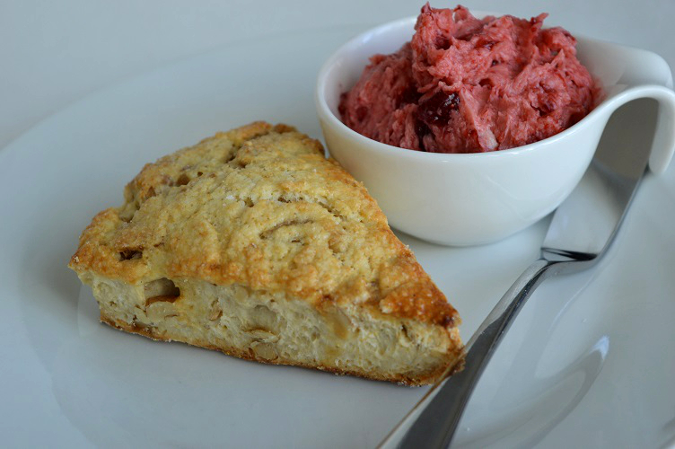 Walnut Scone with Strawberry Butter - Plated