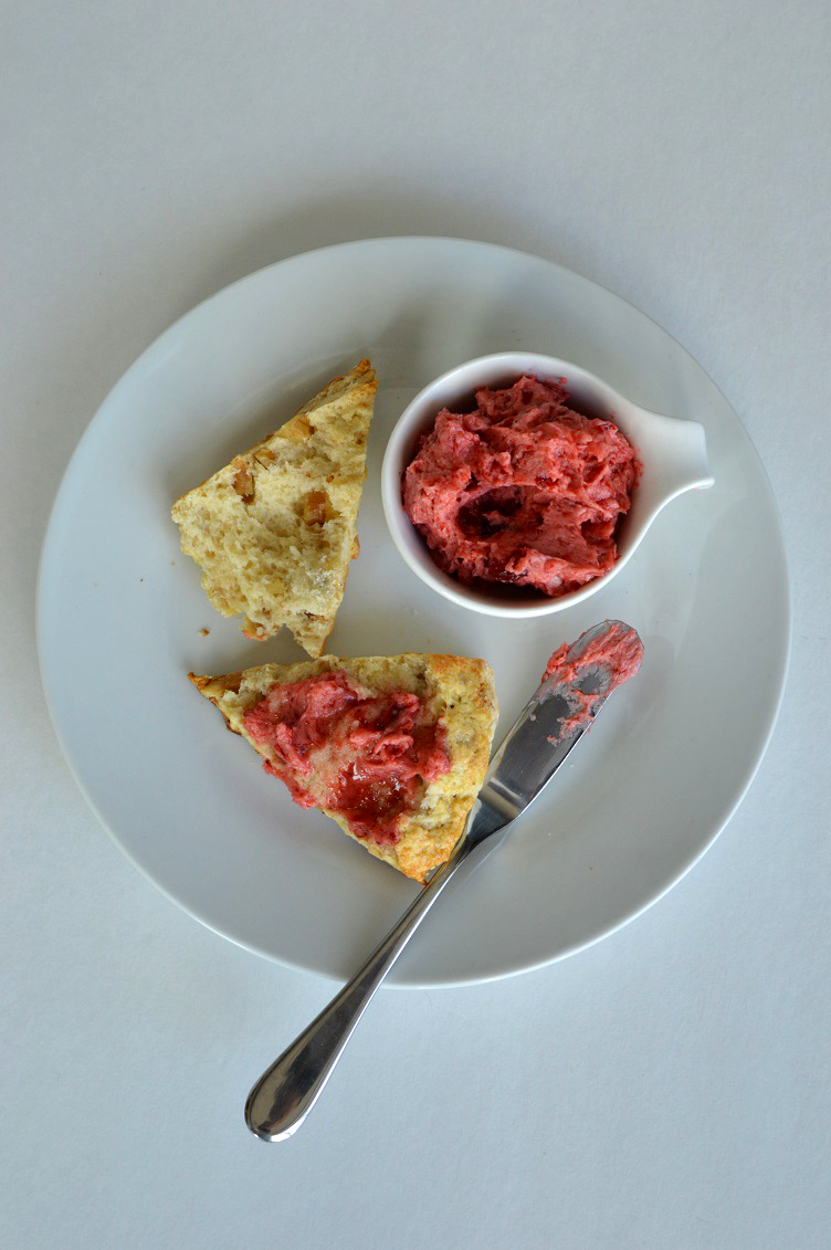 Walnut Scone with Strawberry Butter - Split and Buttered